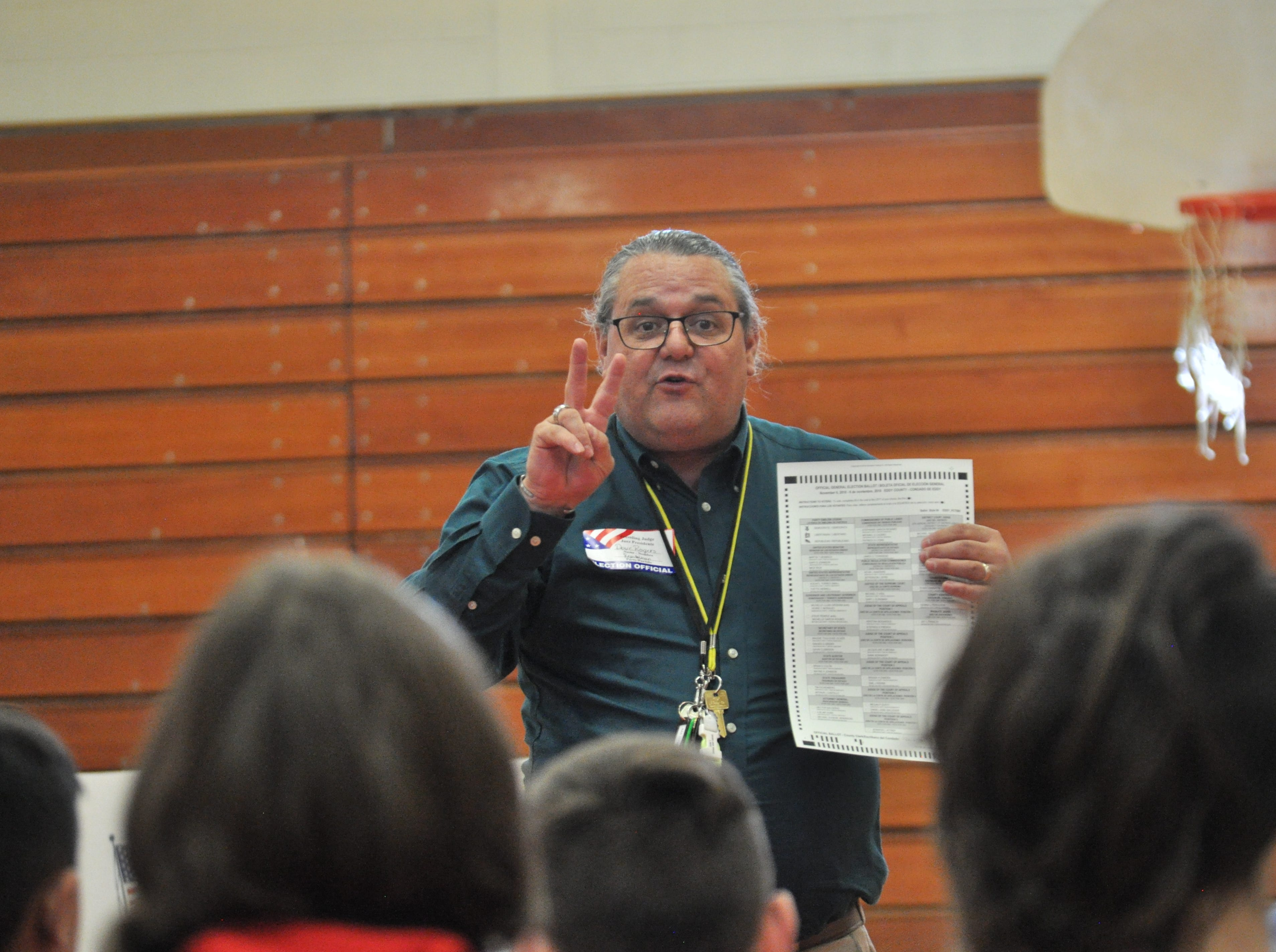 The Rev. Dave Rogers speaks to students about voting, Nov. 6, 2018 at Jefferson Montessori Academy.
