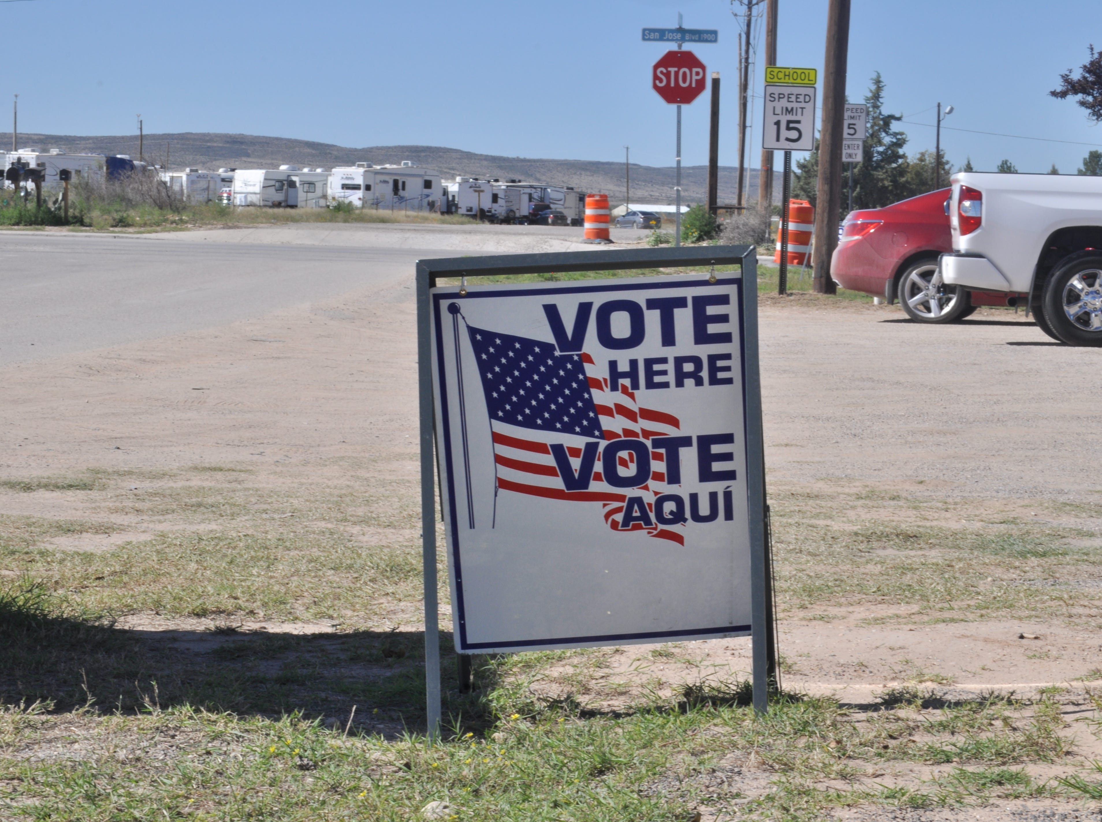 A sign designates a polling place, Nov. 6, 2018 at the Veterans of Foreign Wars post in Carlsbad.