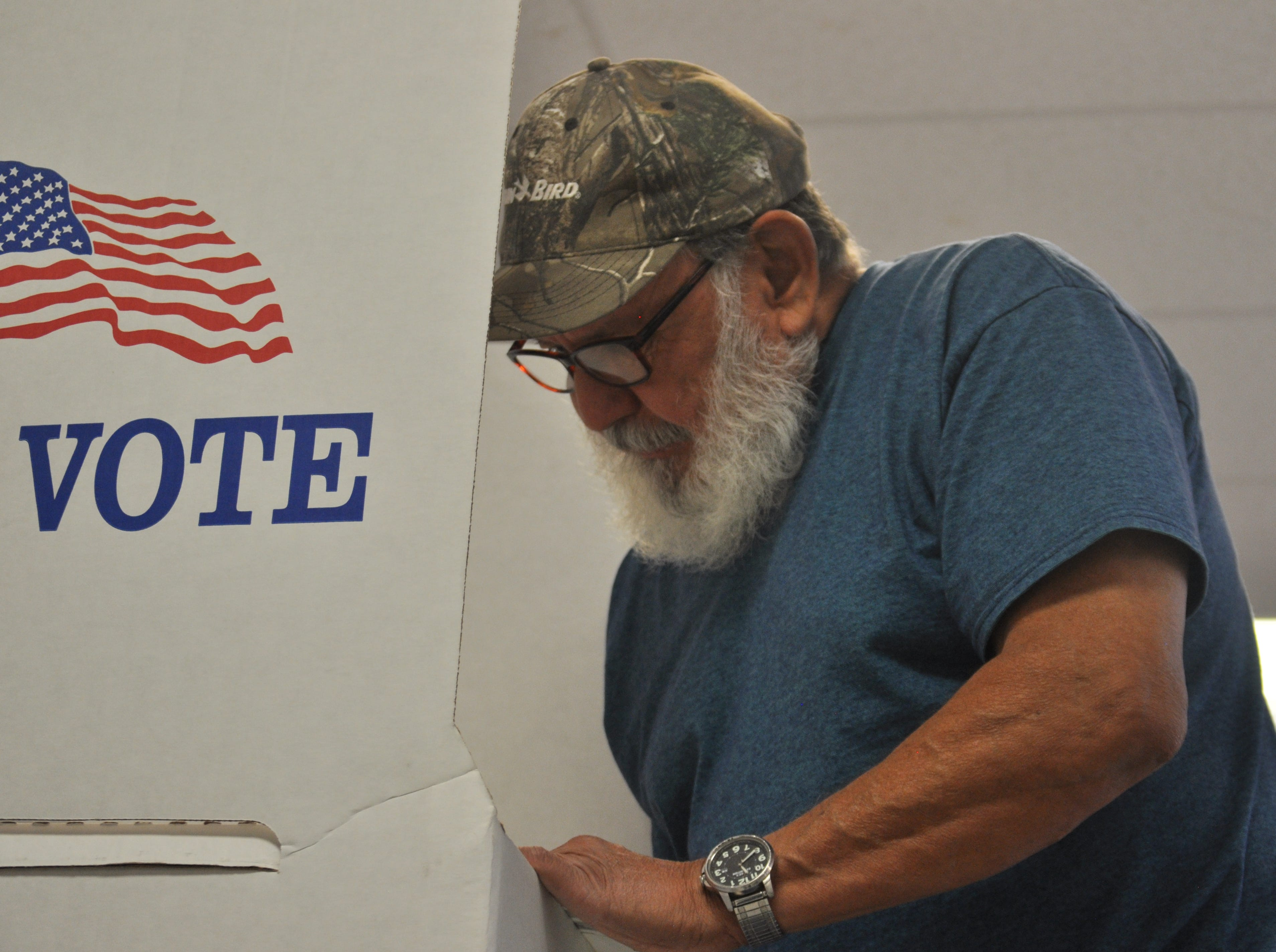Louis Granger considers who to vote for, Nov. 6, 2018 at the Veterans of Foreign Wars Carlsbad post.