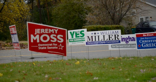 Election yard signs at Farmington High School on election day Nov. 6, 2018.