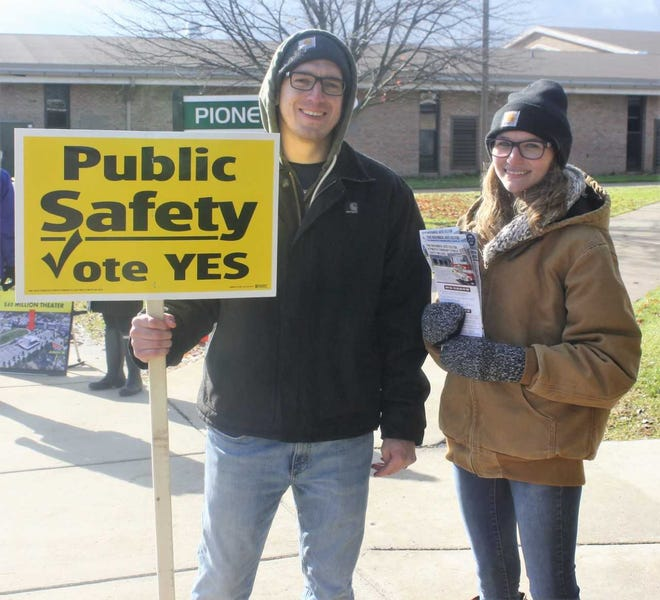 Plymouth Township Firefighter Adam Guinn and his wife, Carly, made it clear on election day how they felt about the township public safety millage question.