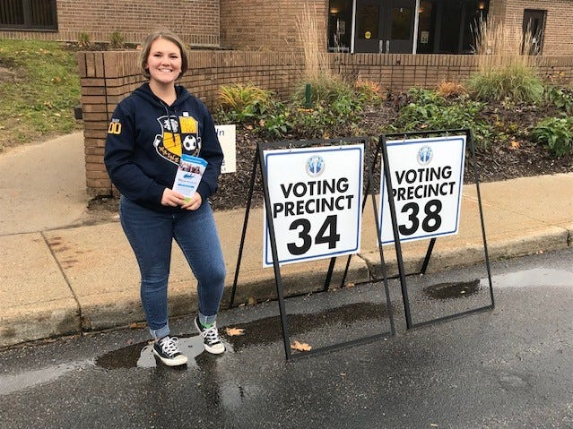 She's not old enough to vote yet, but 17-year-old Madison Simmons handed out literature in Westland in support of the Wayne-Westland bond proposal.