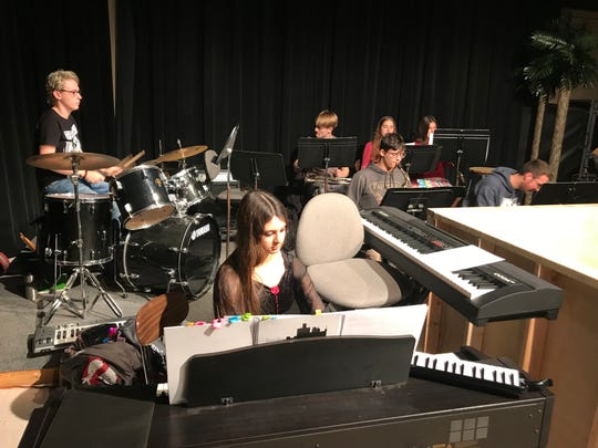 """Peggy Ponchartrain (at the keyboard) and the Penobscot Orchestra entertain the """"Detroit Tonight"""" audience."""