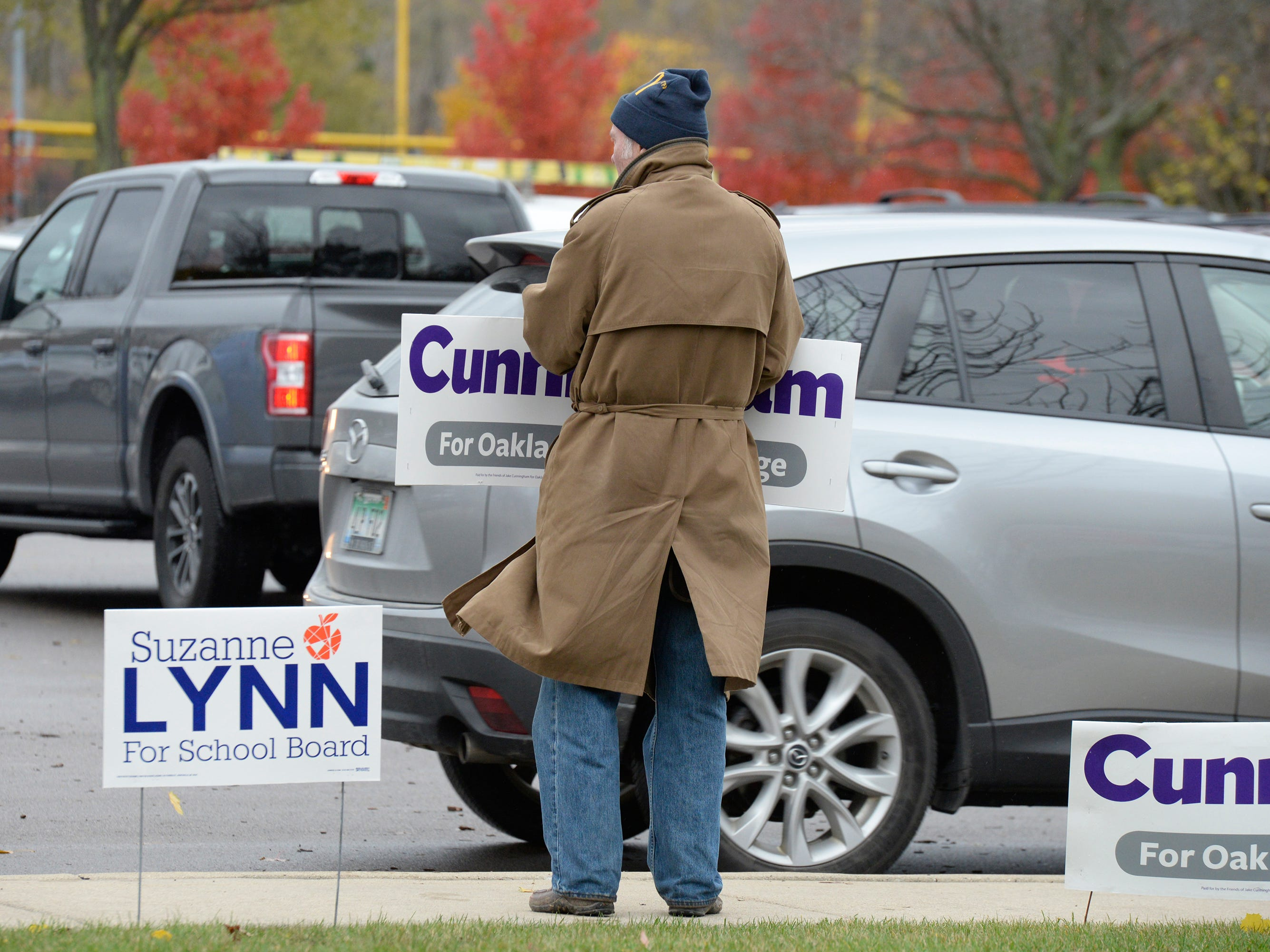 Jay Cunningham, father of Jake Cunningham - a candidate for Oakland Circuit Judge, works the polls at Novi Civic Center on election day Nov. 6, 2018.