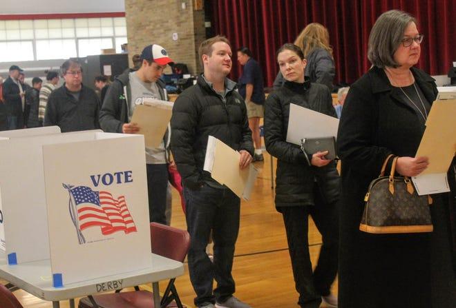 Voters wait in line to cast their ballots inside Derby Middle School in Birmingham.