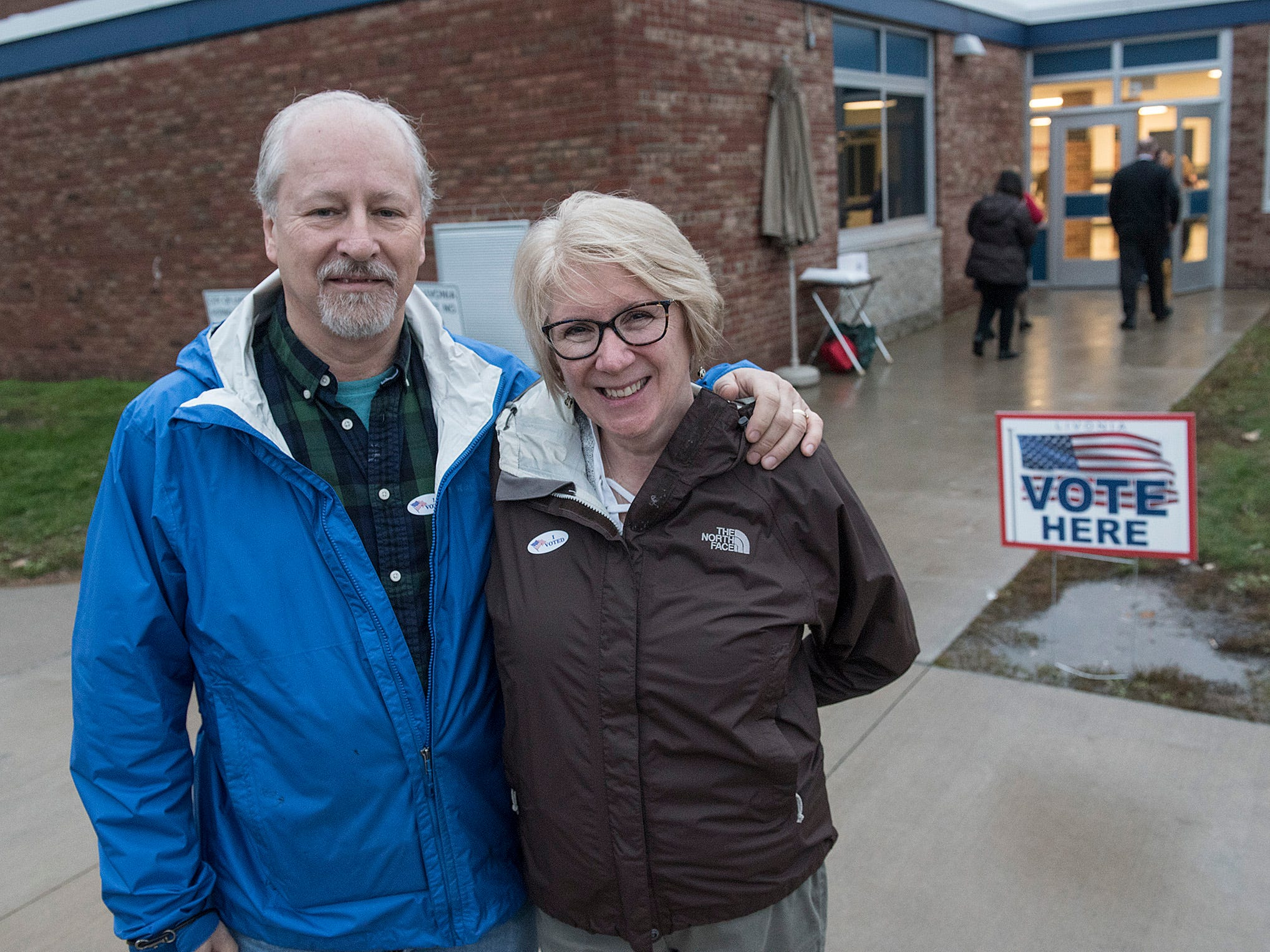 7:20am: John and Karin Baugher have voted at Riley Upper Elementary in Livonia. In spite of long lines, they are out in 20 minutes.
