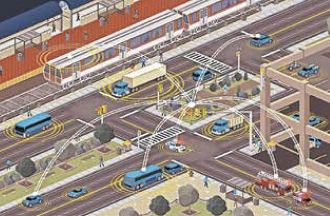 Connected vehicles of all types communicating at a busy intersection.