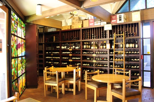 With stained glass windows and low ceilings, The Duck and Decanter's wine shop has Old World charm.