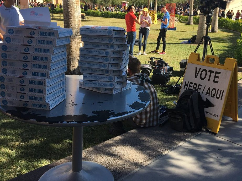 Students at Arizona State University's Tempe campus were sent free pizza from Twitter users and the Arizona Democratic Party while waiting in line to vote on Election Day, Nov. 6, 2018.
