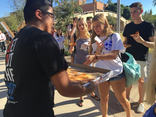 Pizza in ASU polling line