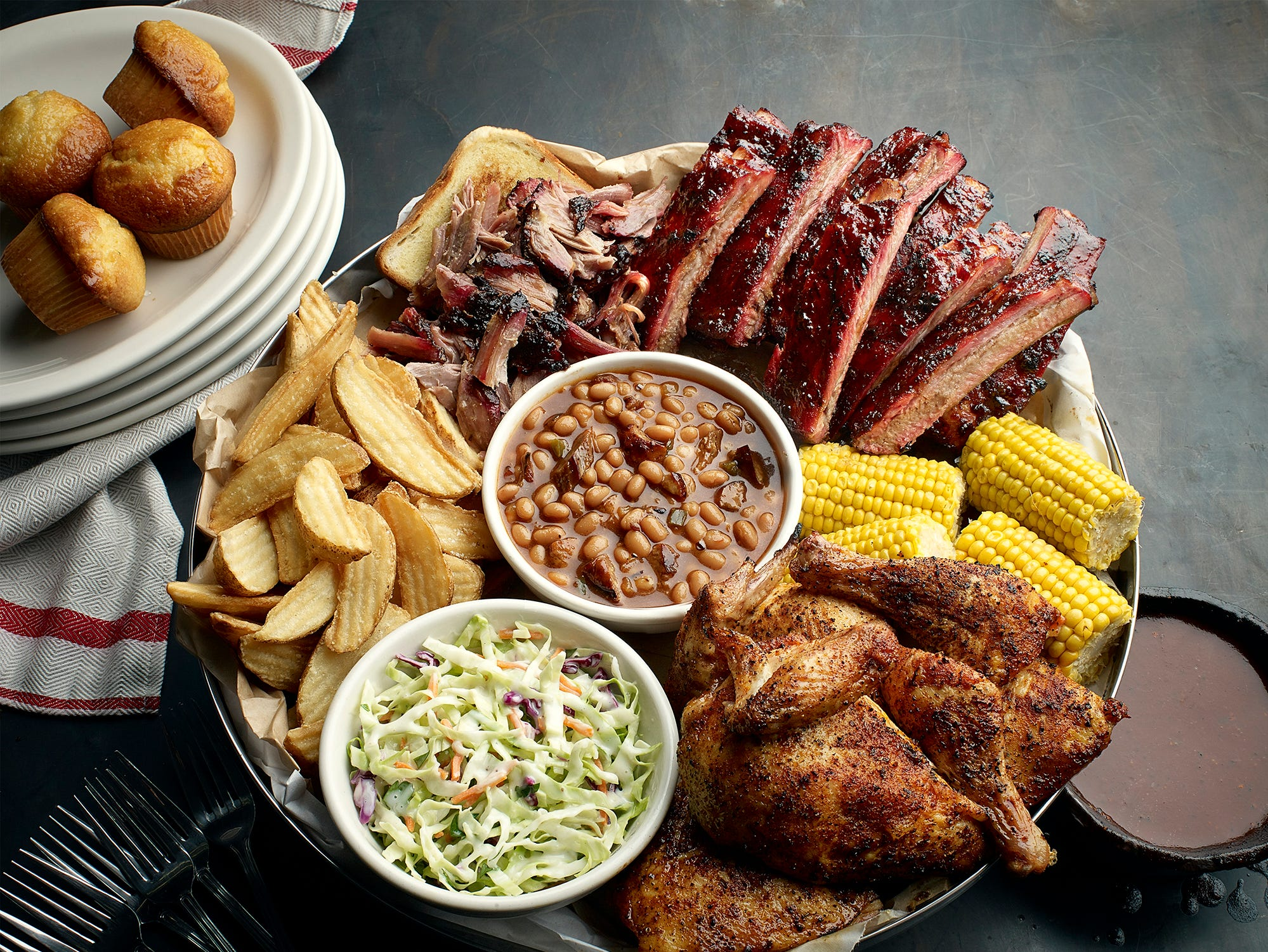 Famous Dave's   Nov. 11-12, enjoy the free Two Meal Salute meal that includes a choice of two meats and is served with a corn bread muffin and one side.   Details: 1011 N. Dobson Road, Mesa. 480-615-1444. Also, 16148 N. 83rd Ave., Peoria. 623-979-3706. Other locations at famousdavesbbq.com.