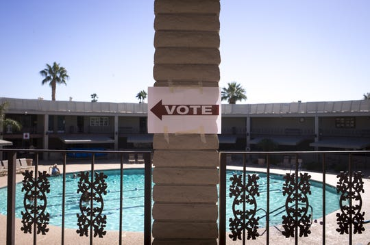 Voting sign, Nov. 6, 2018, at Lakeview Rec Center, 10626 W. Thunderbird Blvd. in Sun City.
