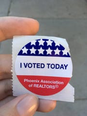 'I voted' sticker with Phoenix Association of Realtors printed on it, Nov. 2, 2016.