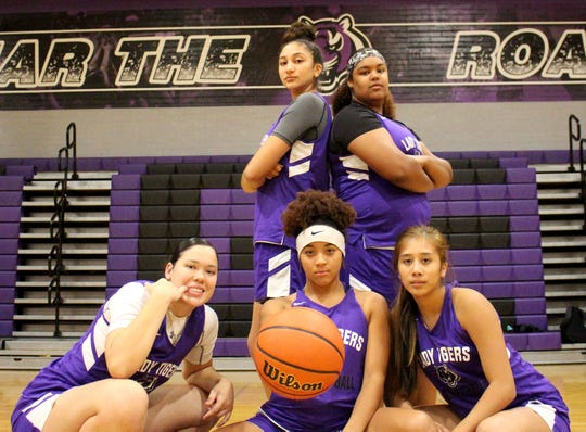 The top players from Millennium's girls basketball team pose before their practice on Monday at Millennium High School on Nov. 5, 2018.
