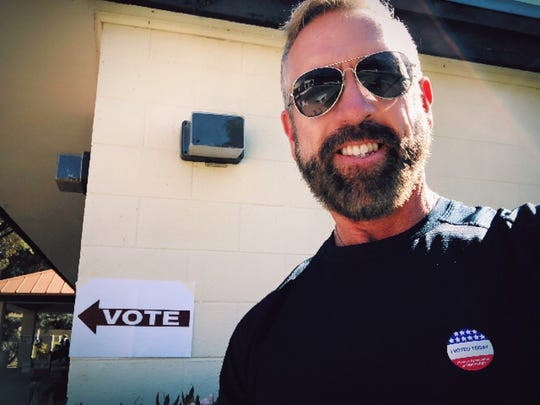 Voting today was so important to Tim McLaughlin San Felice that he drove all the way from San Diego just to do it. He lives part-time in California, Nov. 6, 2018.