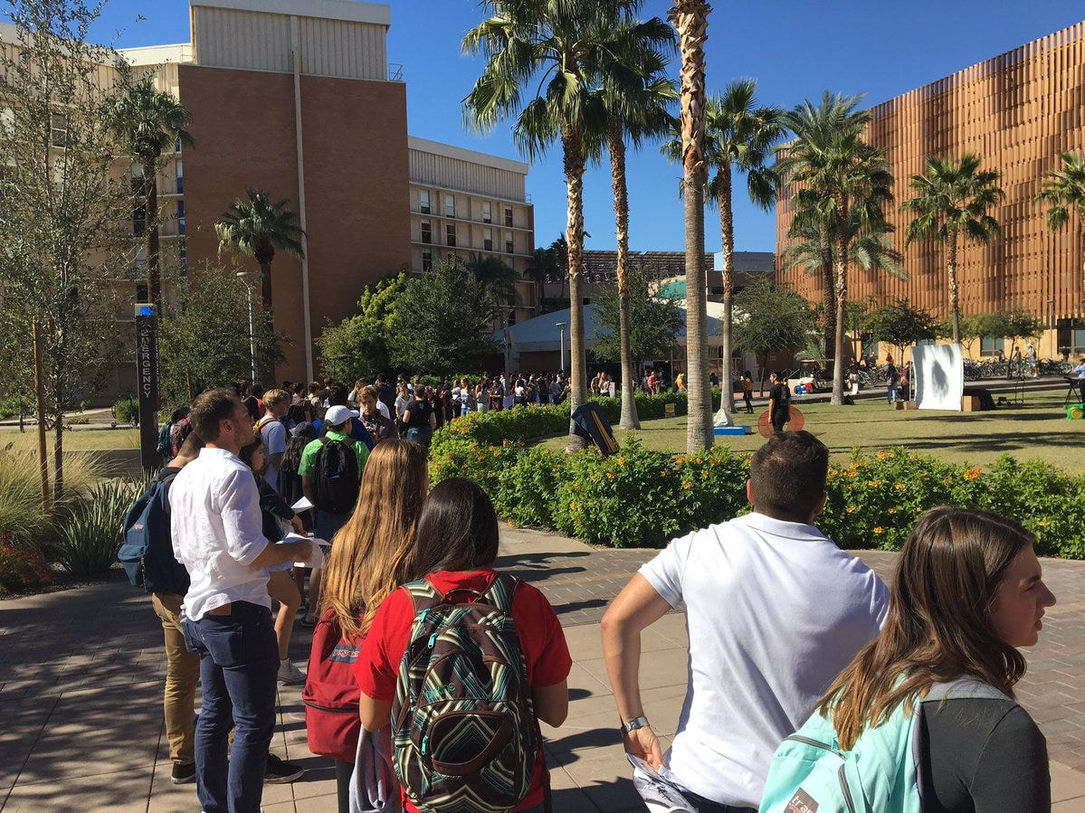 The line at the polling location around 1 p.m. on the Arizona State University campus on Election Day, Nov. 6, 2018.