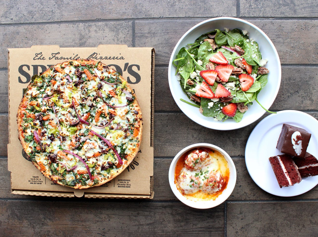Spinato's Pizzeria | Nov. 11, get a free entree priced up to $15. | Details: 4848 E. Chandler Blvd., Phoenix. 480-961-0208. Also, 11108 N. Frank Lloyd Wright Blvd., Scottsdale. 480-391-2347. Other locations at spinatospizzeria.com.