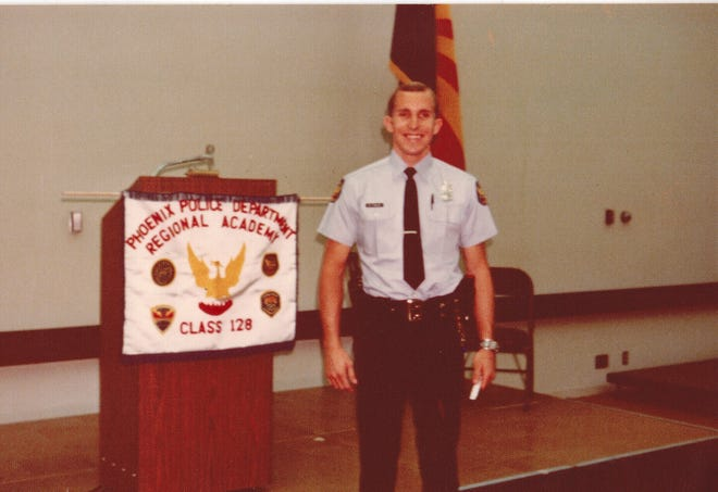 Mike Frazier graduating from the Phoenix Police Department Regional Academy in 1975.