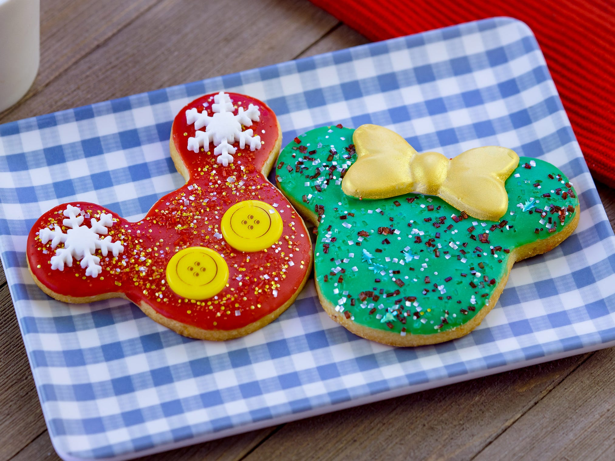 Holiday Mickey and Minnie cookies can be found at the Holiday Duets marketplace during Disney Festival of Holidays at Disney California Adventure Park. The festival runs Nov. 9 through Jan. 8. Guests can stroll through the Festive Foods Marketplace and enjoy a variety of holiday comfort dishes that span cultures and family traditions.