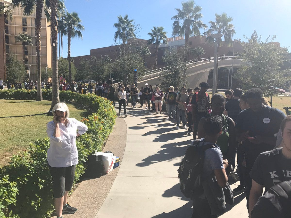 The line on the ASU main campus in Tempe at Palo Verde West dorm polling location was an hour long as of 12 p.m., according to a poll worker, Nov. 6, 2018.