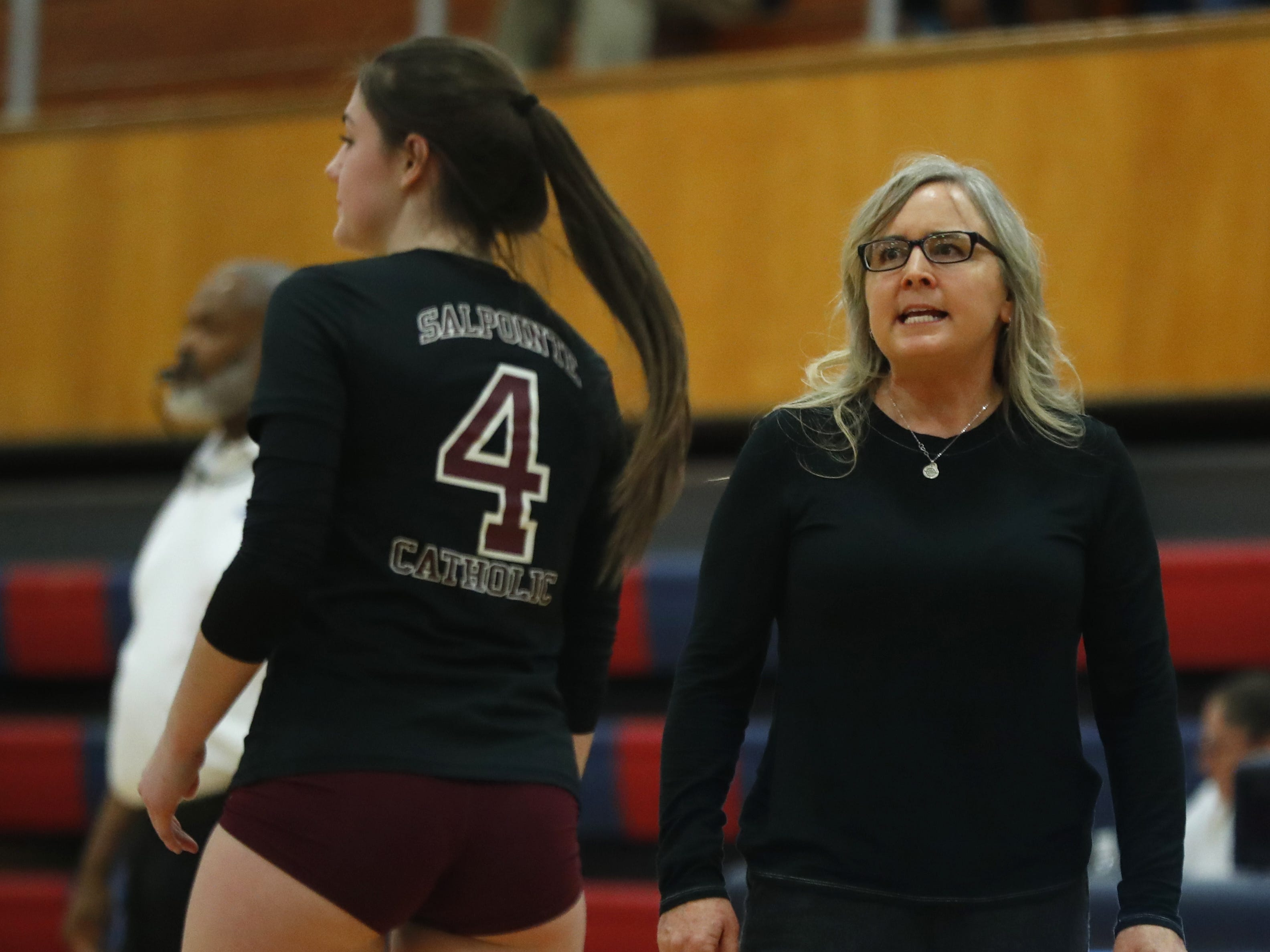 Salpointe Catholic's  Heather Moore-Martin talks with Brandy Kishbaugh (4) during the 4A State Championship in Volleyball at McClintock High School in Tempe, Ariz. on November 5, 2018.