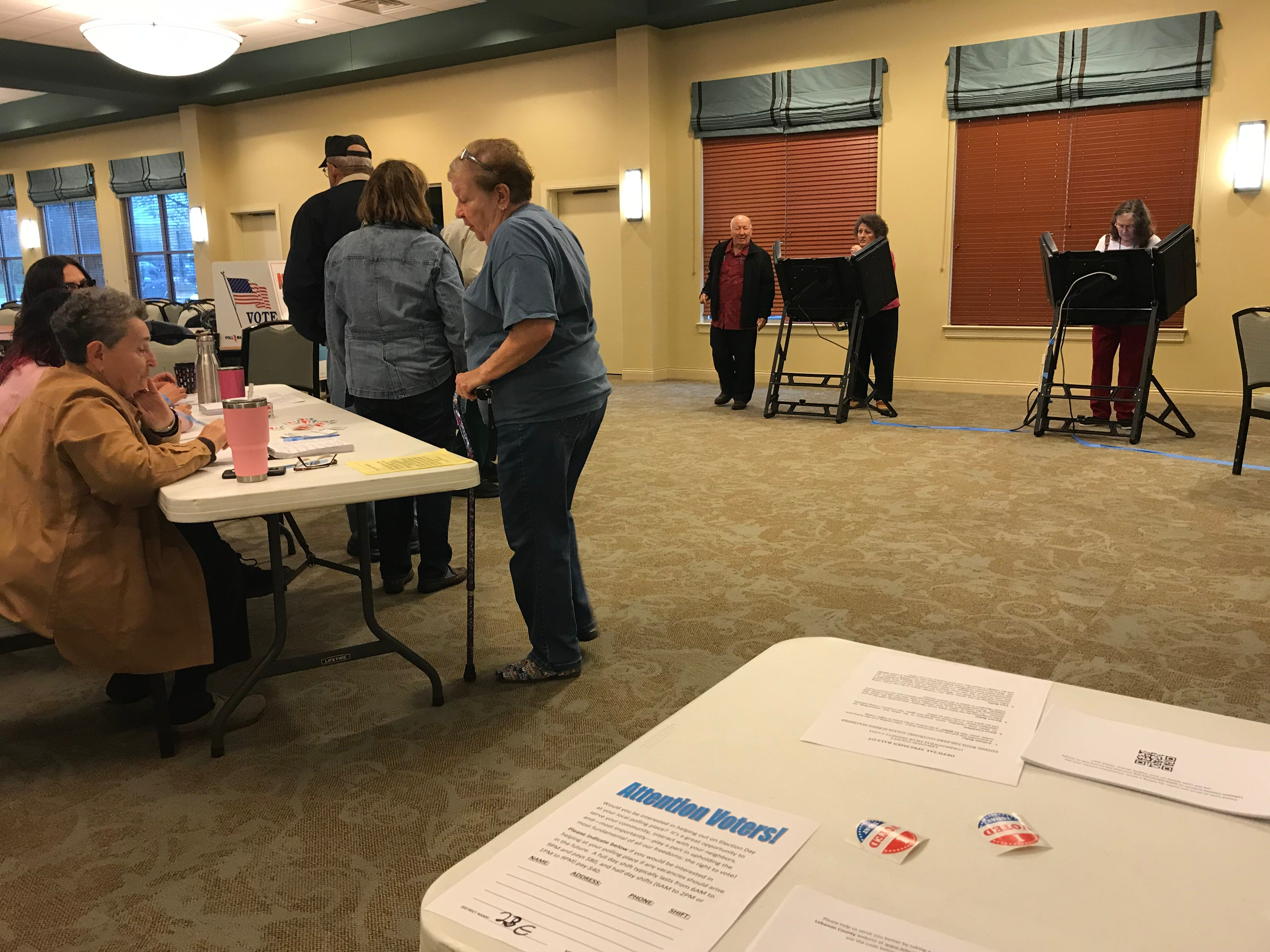 Voters waiting in line at the polls at StoneRidge Poplar Run, 440 E. Lincoln Ave., in Jackson Township Nov. 6, 2018.