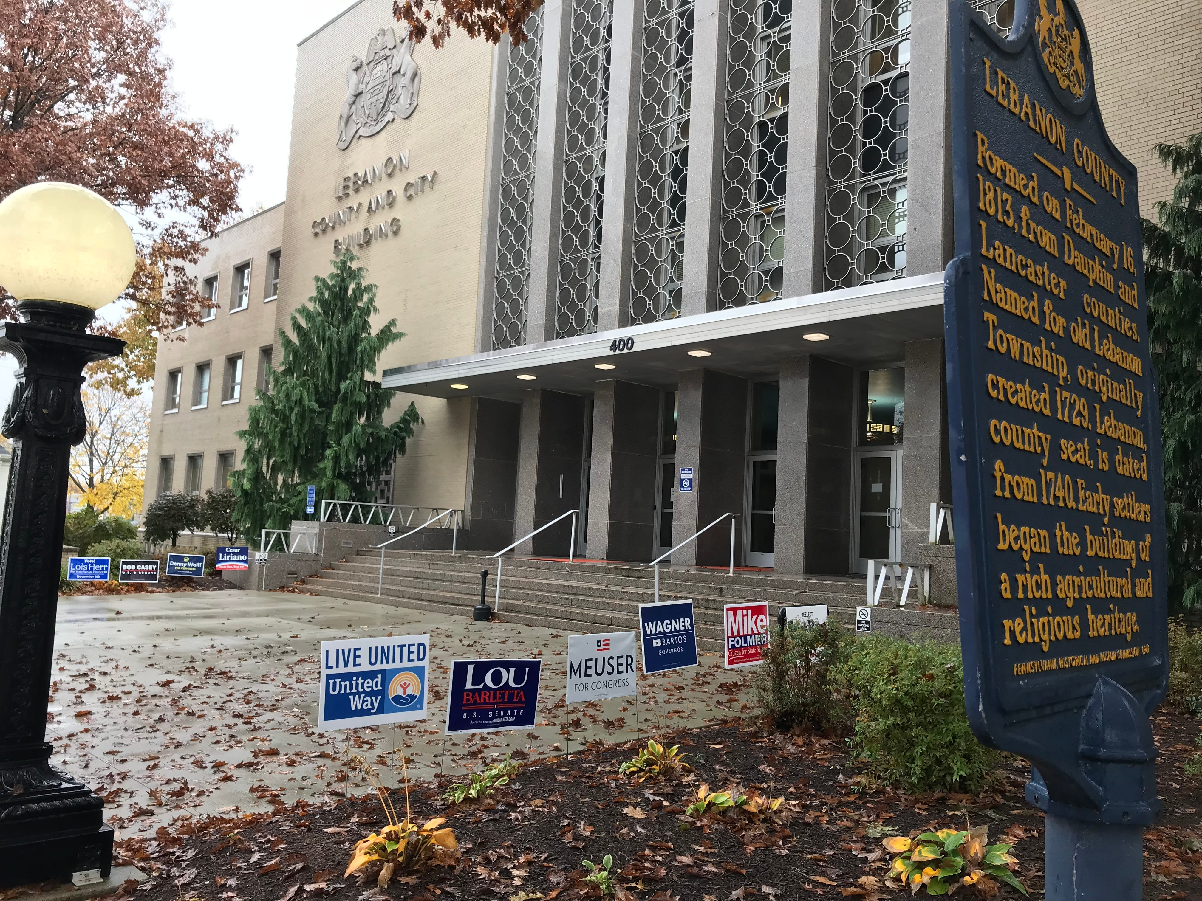 Campaign signs outside of the Lebanon County Courthouse during the midterm elections Nov. 16, 2018.