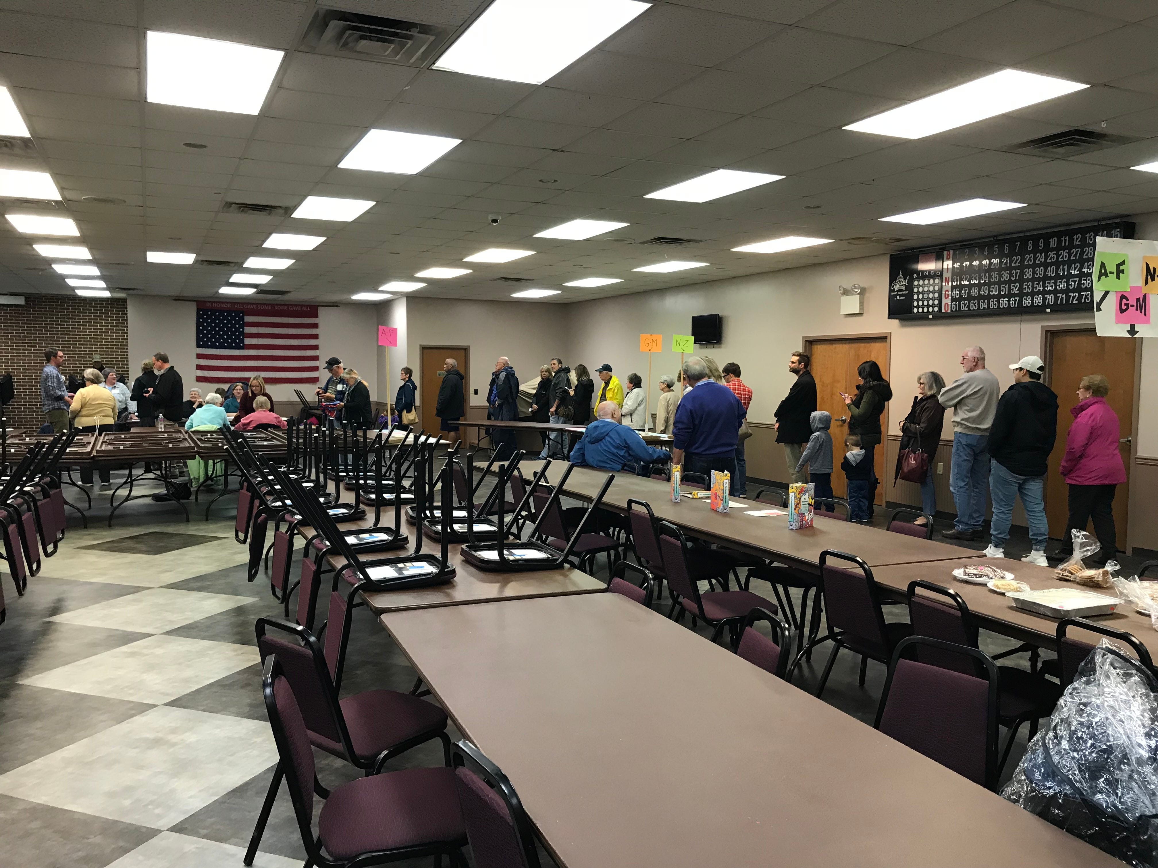 Voters stand in line at the polls located at the Campbelltown Fire Co. social hall Nov. 6, 2018. By 10:45 a.m., 894 voters had voted at the fire hall, according to Election Judge Bev Kauffman. The voter turnout by that time in 2018 was only a little less than the turnout at the same time for the 2016 presidential election, Kauffman said.