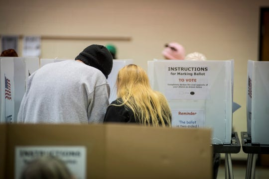Voters in precinct 7 fill out their ballots at First United Methodist Church in Port Huron during mid-term elections Tuesday, Nov. 6, 2018.