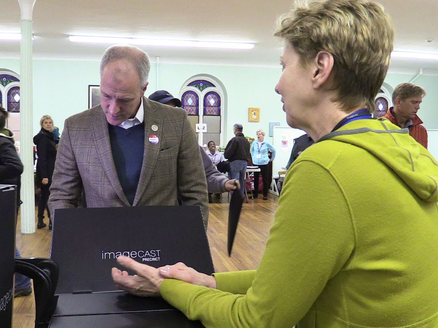 Congressman Sean Patrick Maloney casts his vote at the United Methodist Church polling station in Cold Spring on Nov. 6, 2018.