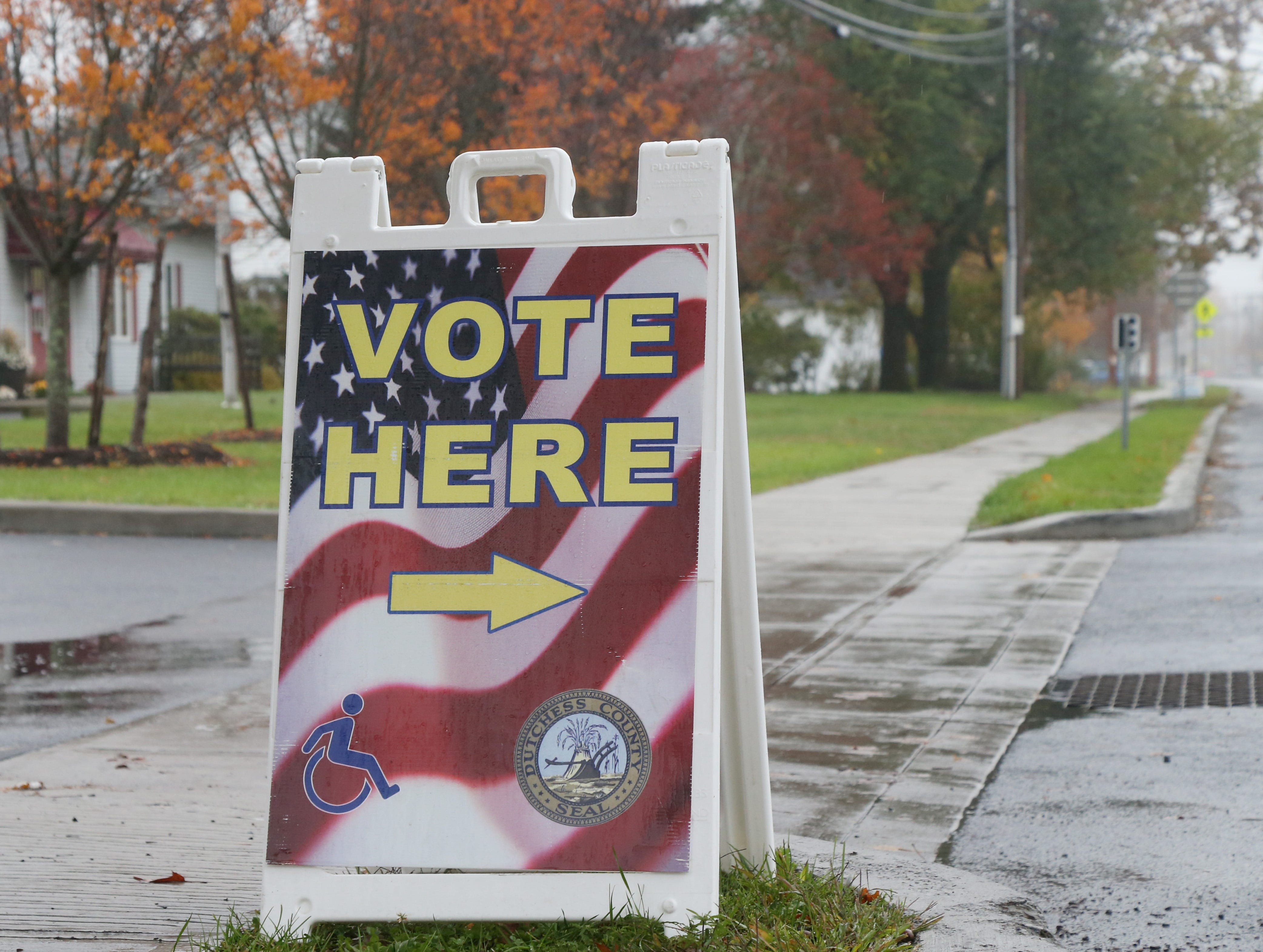 A Vote Here sign outside Red Hook Town Hall on November 6, 2018.