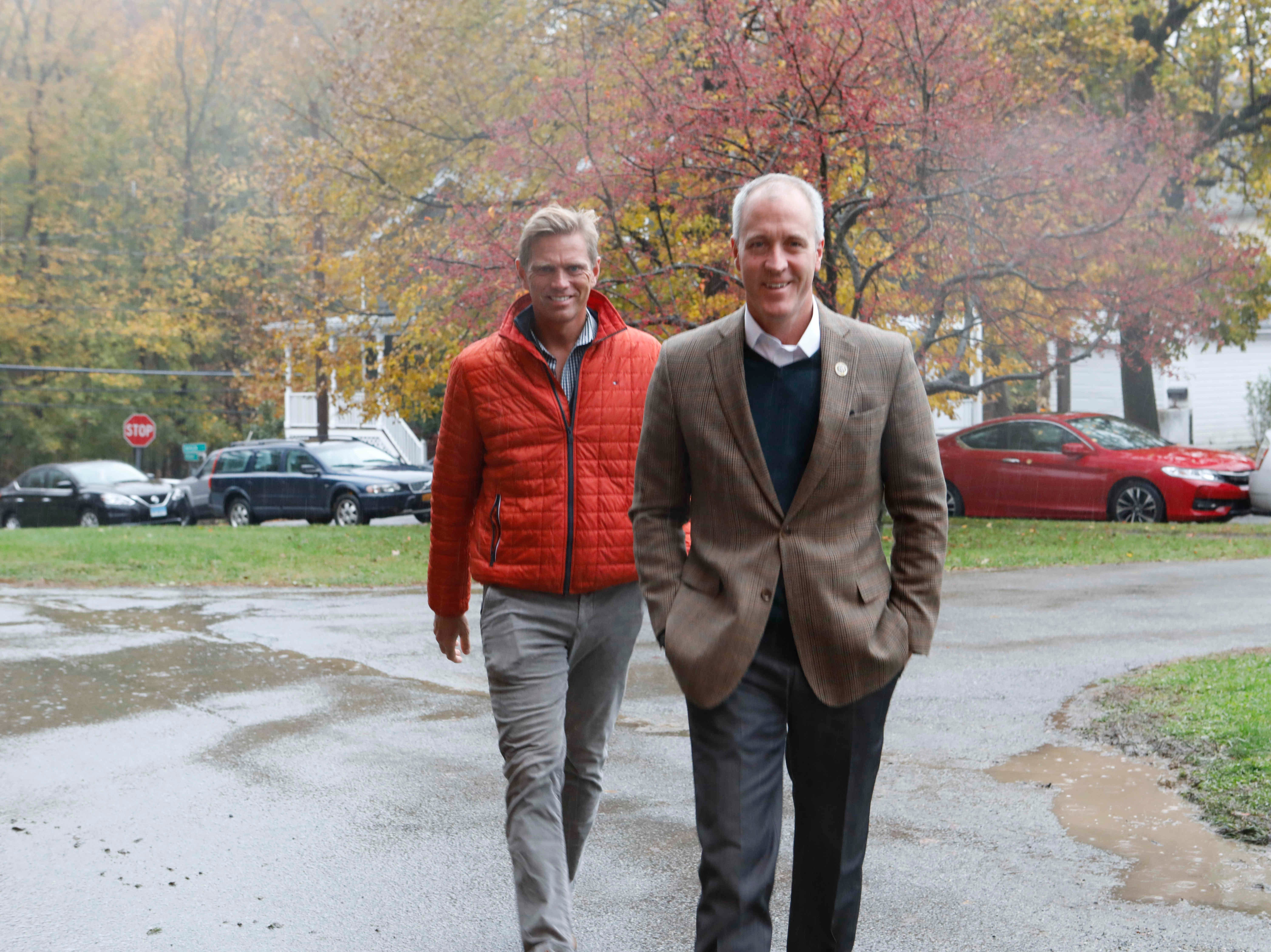 Congressman Sean Patrick Maloney arrives at the United Methodist Church polling center in Cold Spring on Nov. 6, 2018.