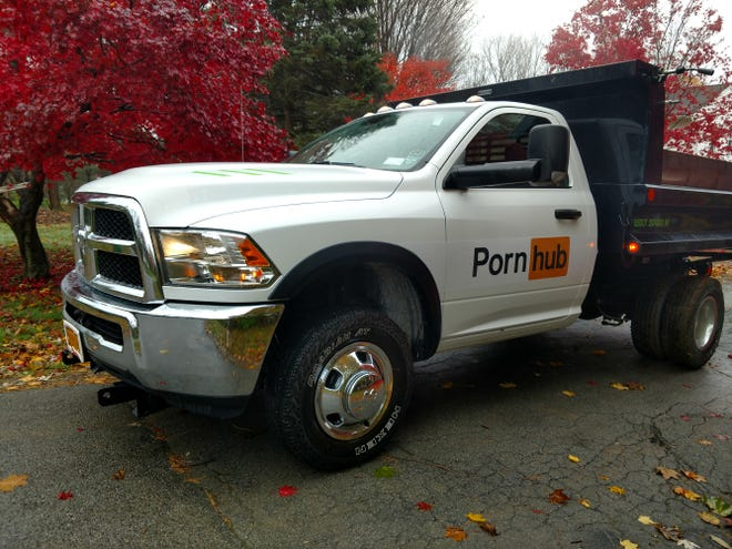 A Dutchess Lawns truck is outfitted with a Pornhub logo for the three-day leaf removal campaign that begins Wednesday.