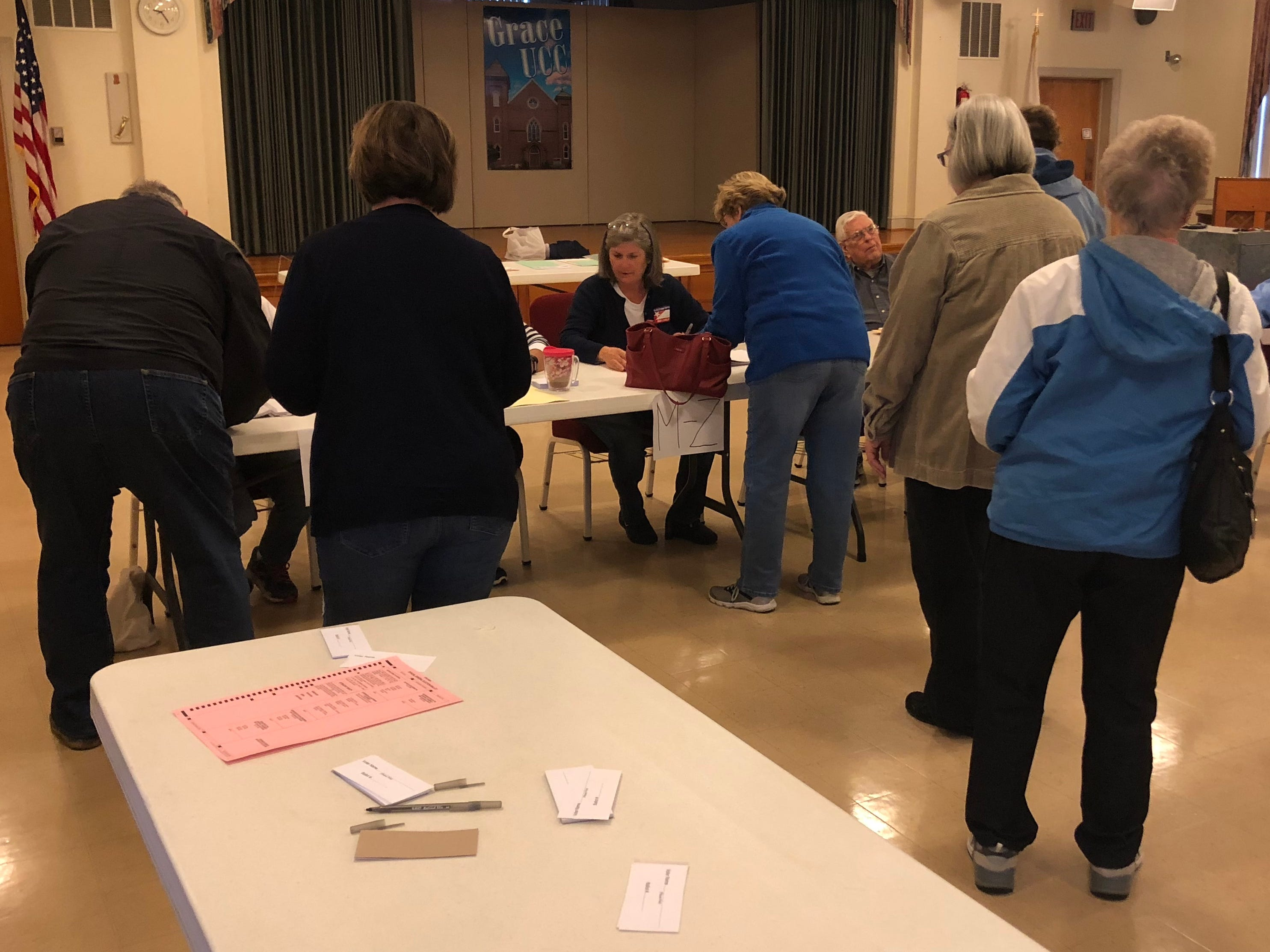 Residents line up to vote in the mid-term election at Grace United Church of Christ in Greencastle the morning of Tuesday, Nov. 6, 2018.