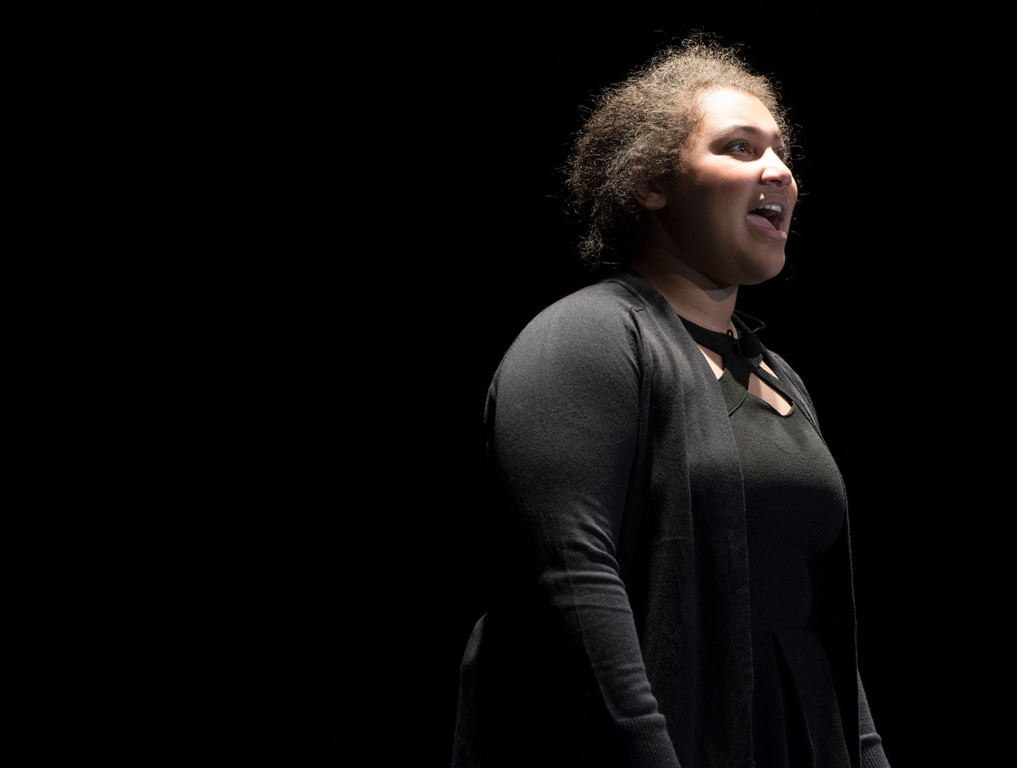 Elyssa Thomas sings a solo during dress rehearsal. The CASHS Drama Club (in cooperation with Music Theatre International) will be performing Songs for a New World By Jason Robert Brown on Friday, November 9, 2018 at 7:30 PM and Saturday, November 10, 2018 at 2:30 and 7:30 PM. 