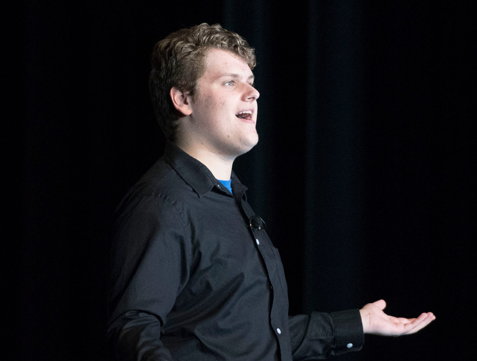 Drew Wible sings a solo during dress rehearsal. The CASHS Drama Club (in cooperation with Music Theatre International) will be performing Songs for a New World By Jason Robert Brown on Friday, November 9, 2018 at 7:30 PM and Saturday, November 10, 2018 at 2:30 and 7:30 PM. 