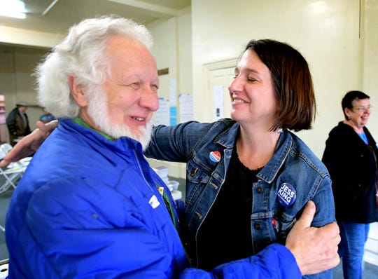 Congressional candidate Jess King hugs supporter Fred Owens of Hellam Township at her campaign headquarters in Red Lion on midterm Election Day Tuesday, Nov. 6, 2018. Bill Kalina photo