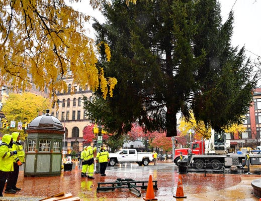 York City Hauls 50-foot Tree To Continental Square