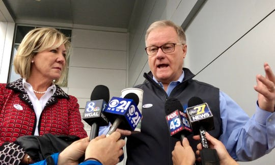 Republican gubernatorial candidate Scott Wagner cast his vote at 7 a.m. Nov. 6 at York College's Grumbacher Sport and Fitness Center. Dawn J. Sagert photo