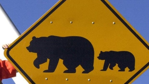A bear crossing sign in Nevada is shown in this 2013 file photo.