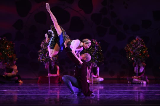 """Terrin Kelly and Amir Yorke in Sierra Nevada Ballet's """"A Midsummer Night's Dream -- A Steampunk Version"""" at the Pioneer Center for the Performing Arts on August 5, 2018."""