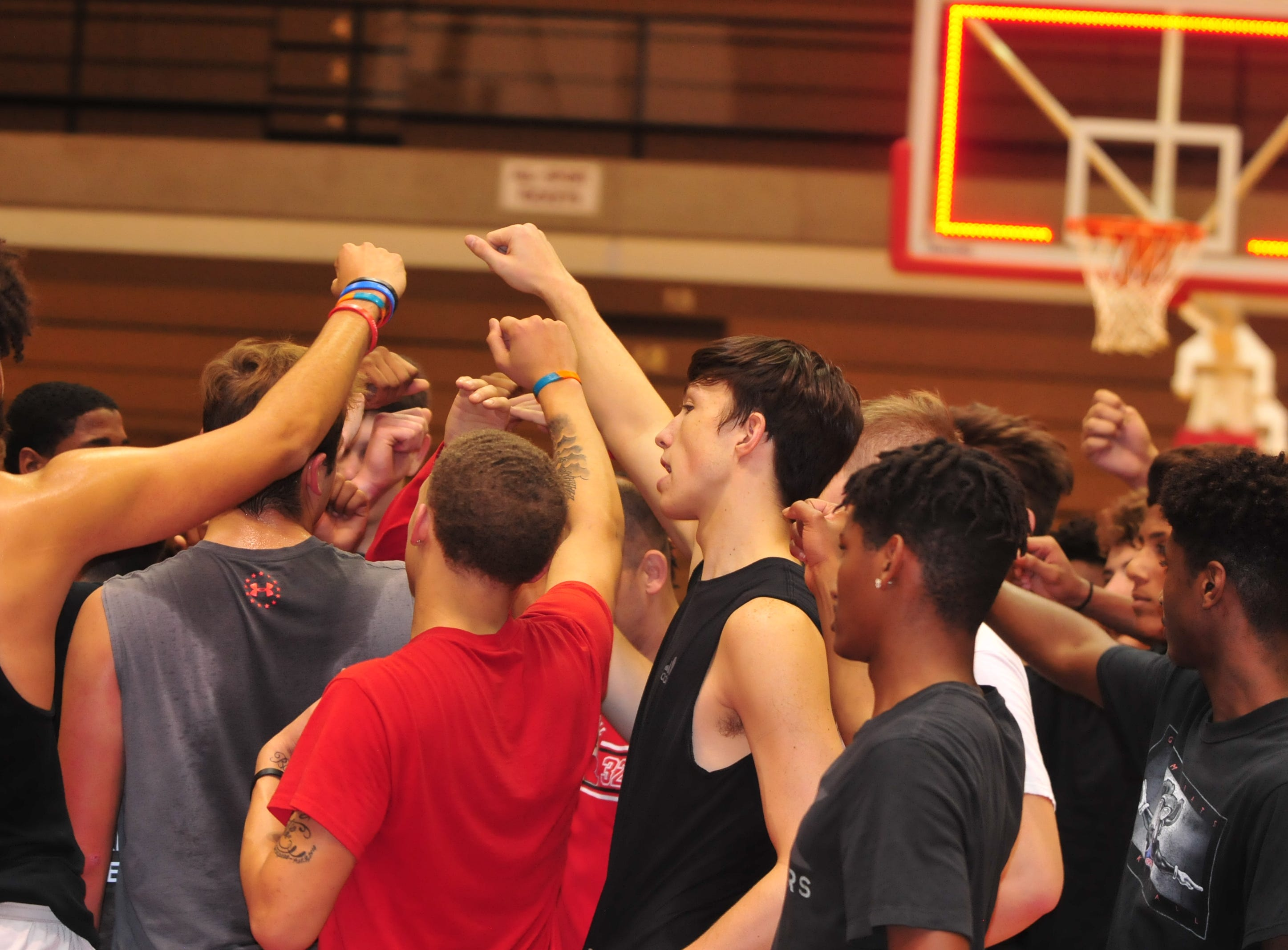 Richmond High School boys basketball players during boys basketball practice Monday, Nov. 5, 2018 at the Richmond High School's Tiernan Center.