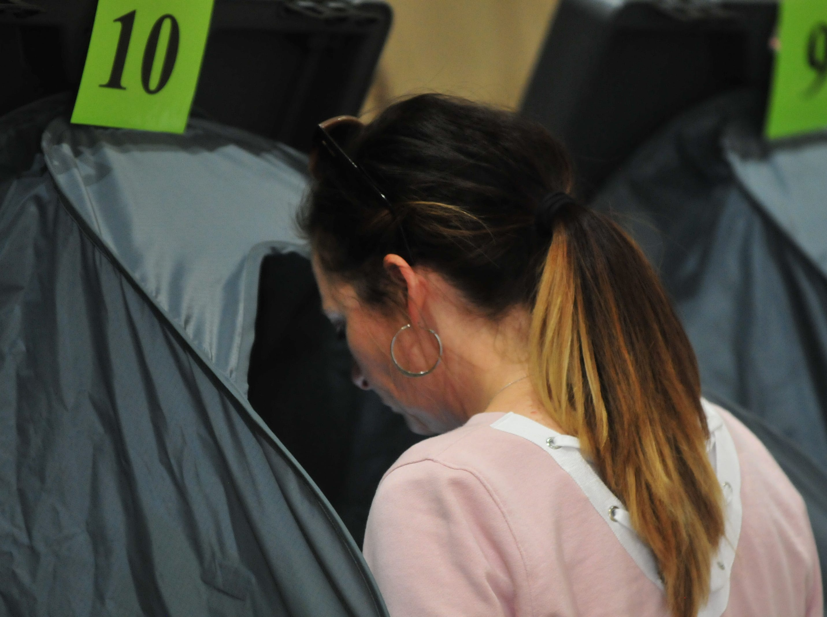 Voters cast their ballots at the Hagerstown New Testament Church vote center on Election Day, Nov. 6, 2018.