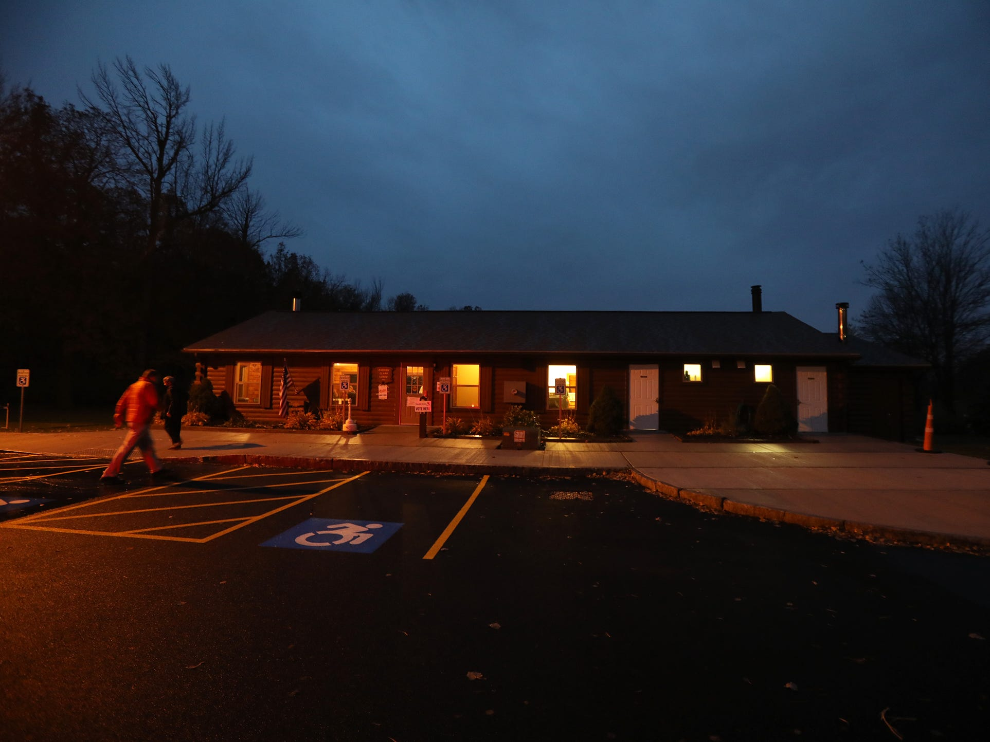 The polls opened at 6 a.m. and will close at 9 p.m.  Early morning voters headed into Carmen Clark Lodge.