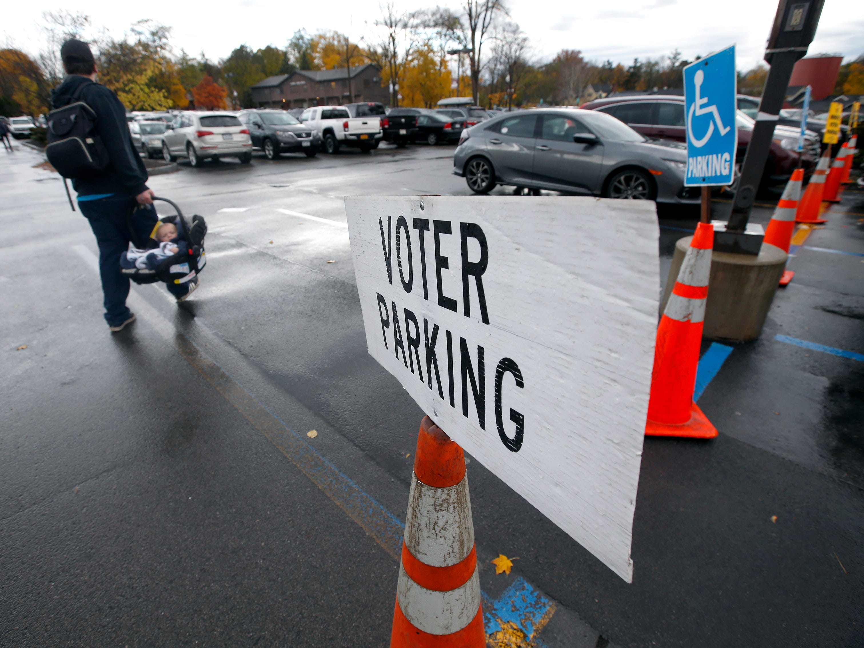 Parking at the Pittsford Community Library voting poll.