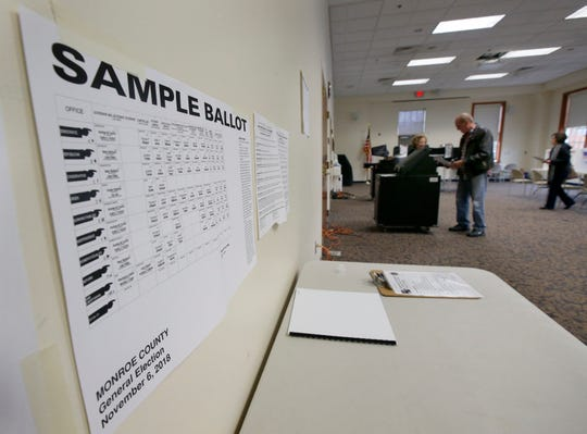 Sample ballot at a local polling place. File photo.