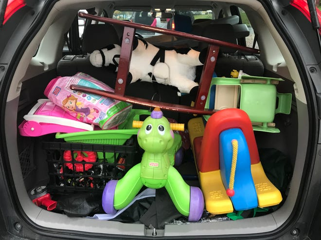 One of the three carloads of toys donated at Laughing Gull Chocolates during a toy drive for New Life Toys.