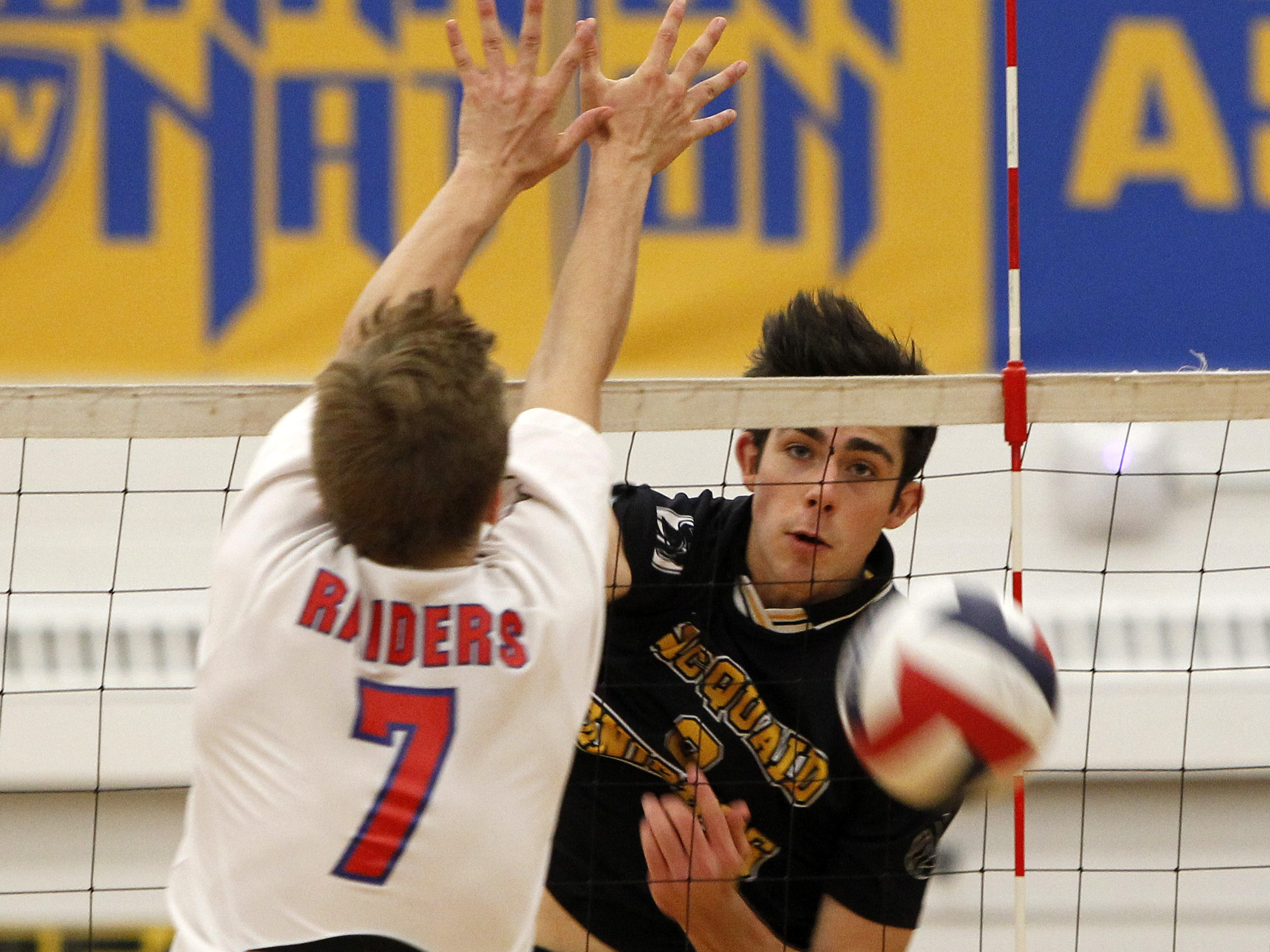Colby Harriman, shown during the 2013 Class A championship match against Fairport, played on three state title teams for McQuaid and was named All-Greater Rochester Co-Player of the Year in 2013.