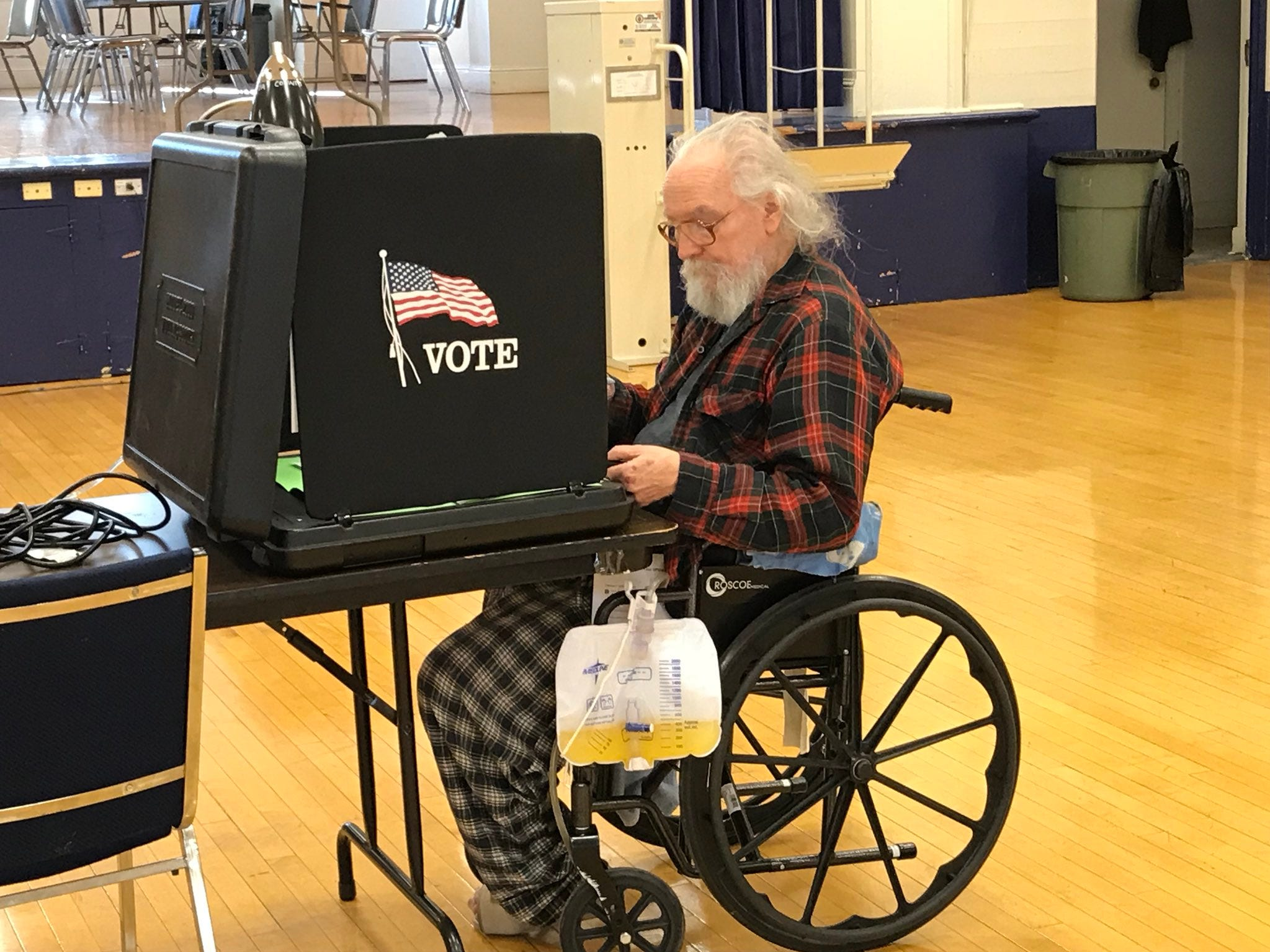 Jerry S. Moore, 71, of Redding makes his election choices on Tuesday, Nov. 6, 2018 at the Redding Veterans Hall on Yuba Street in downtown Redding.