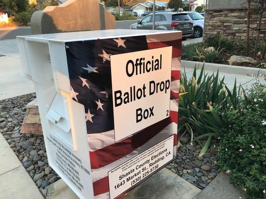 Shasta County official ballot drop box in Shasta Lake